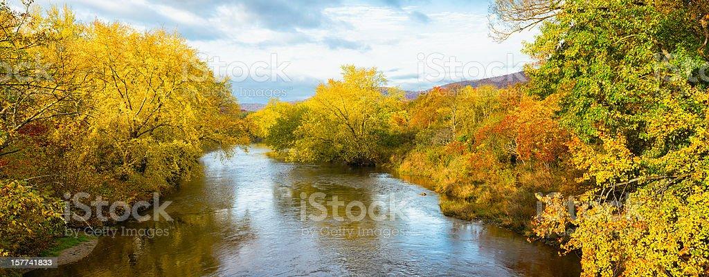 Missisquoi River Autumn Panoramic landscape royalty-free stock photo