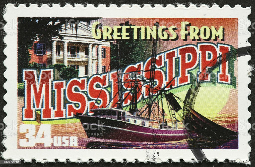 Mississippi fishing boat and mansion royalty-free stock photo