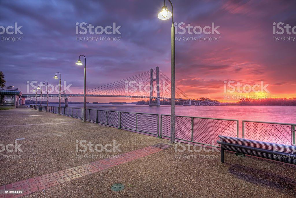 Mississippi River at dawn, HDR royalty-free stock photo