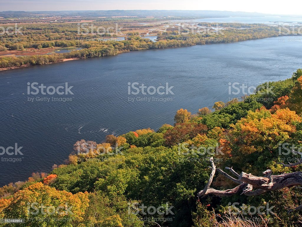 Mississippi river at fall stock photo