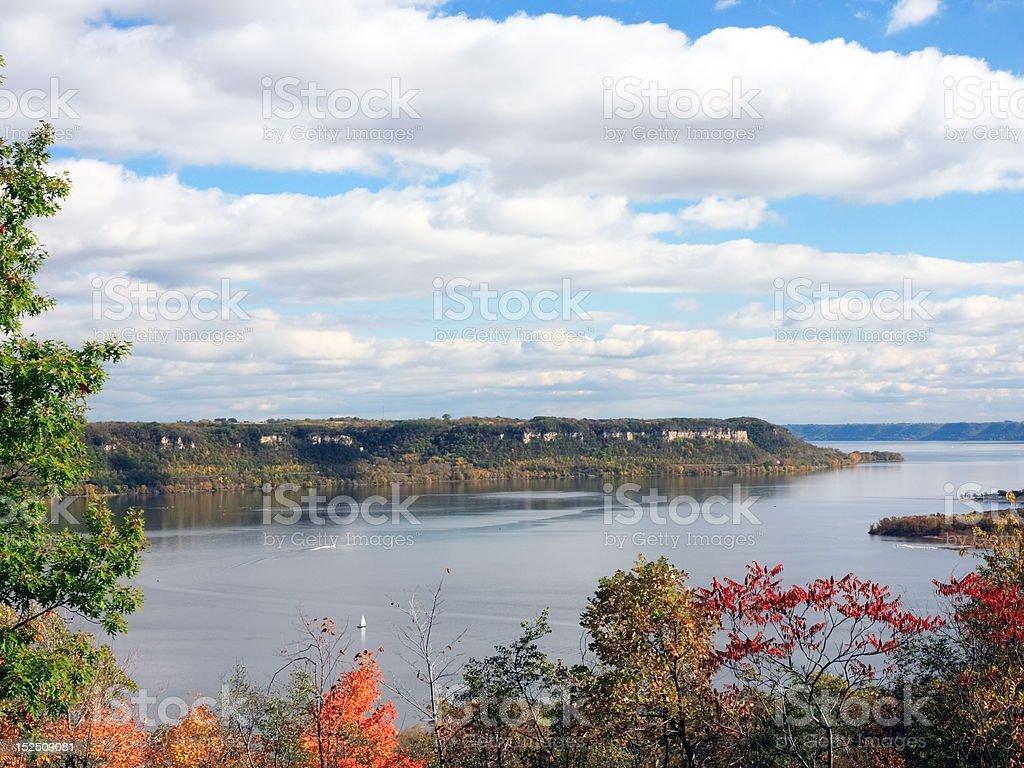 Mississippi river at fall season royalty-free stock photo