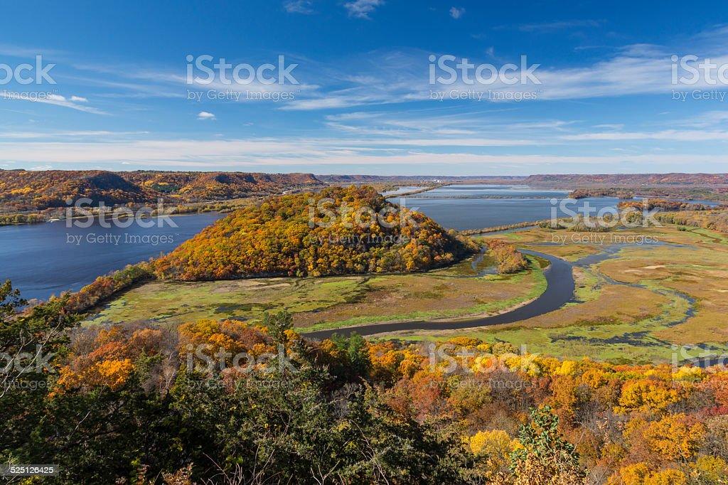 Mississippi River Autumn Vista stock photo