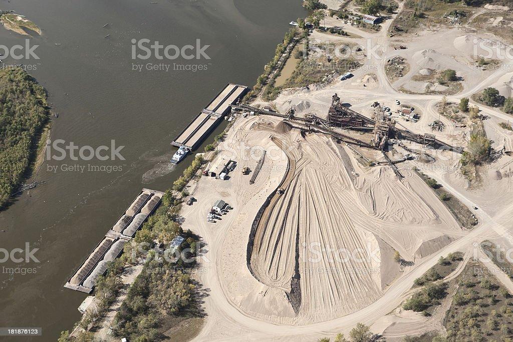 Mississippi River Barge Sand Loading Dock stock photo