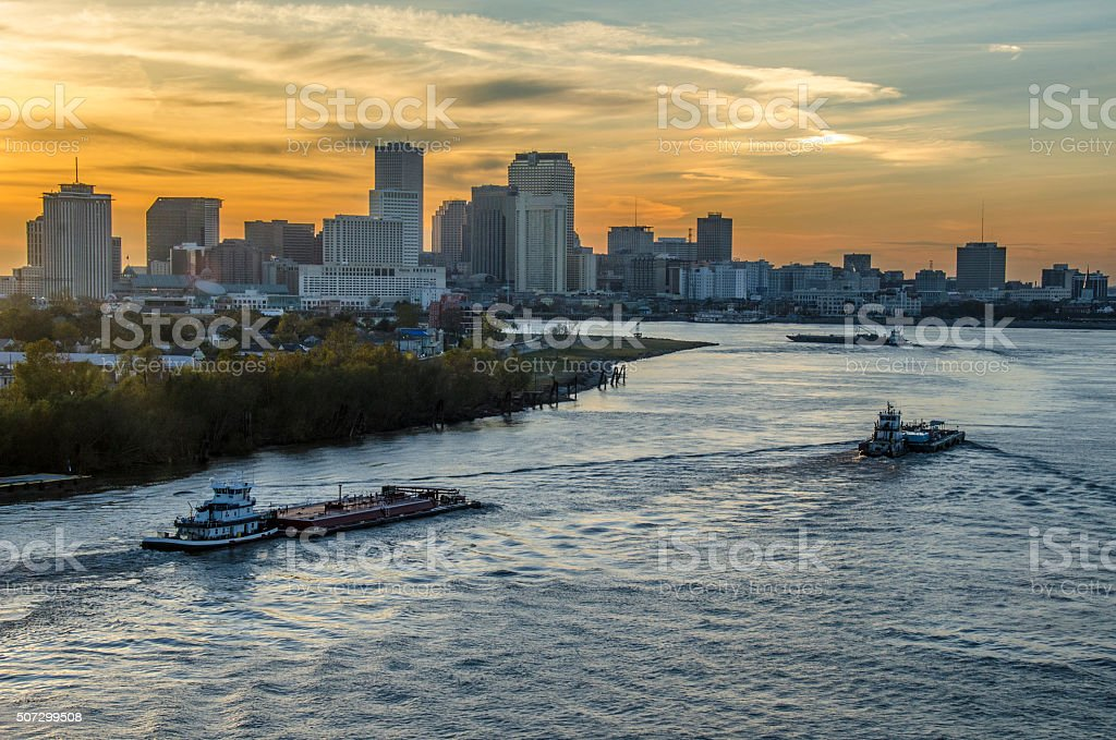 Mississippi River barges stock photo