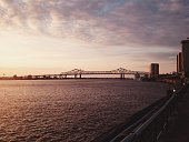 Mississippi River bridge at sunrise
