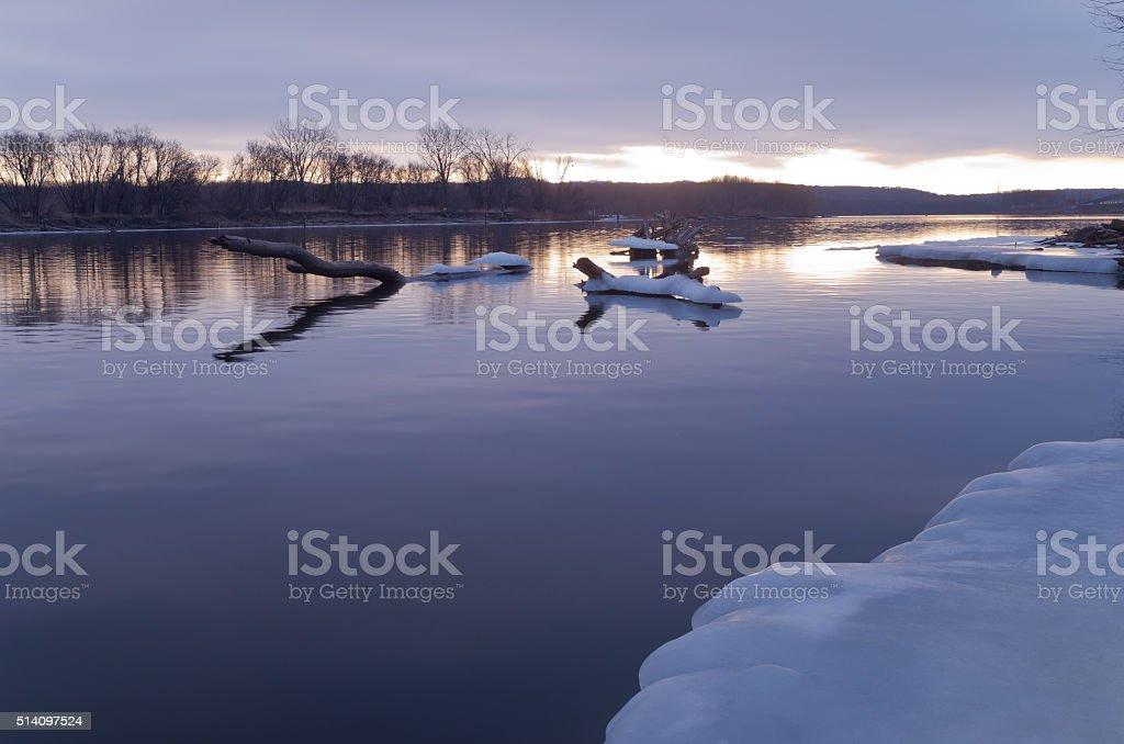 Mississippi River Daybreak in Winter stock photo