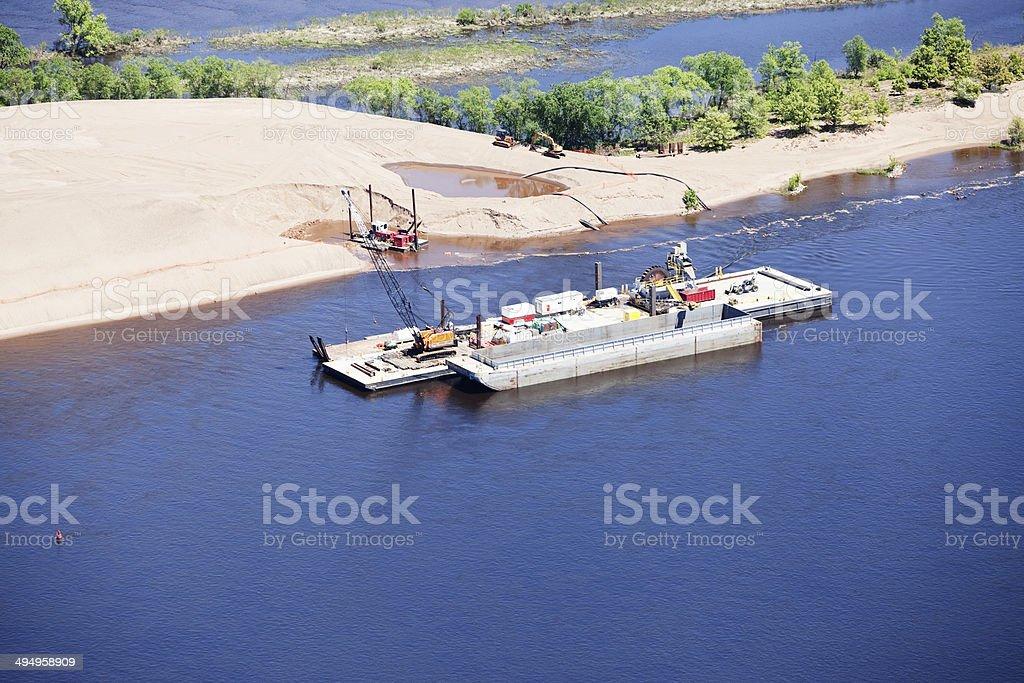Mississippi River Dredge Operation stock photo