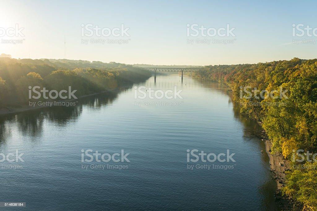 Mississippi River in Morning Light in Minnesota stock photo
