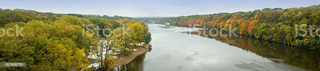 Mississippi river panorama between Minneapolis and St.Paul, Minnesota. stock photo