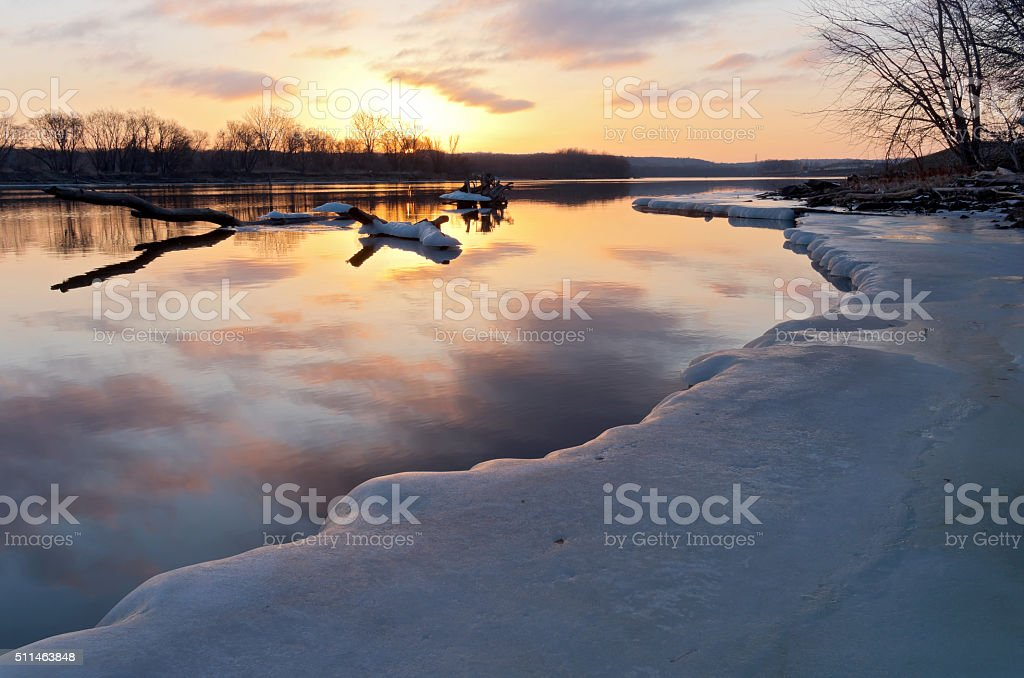 Mississippi River Sunrise in South St Paul stock photo