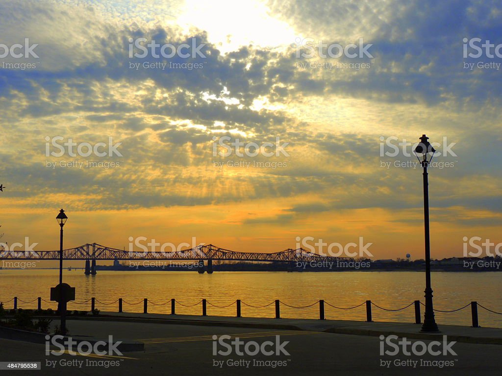 Mississippi River Sunset stock photo