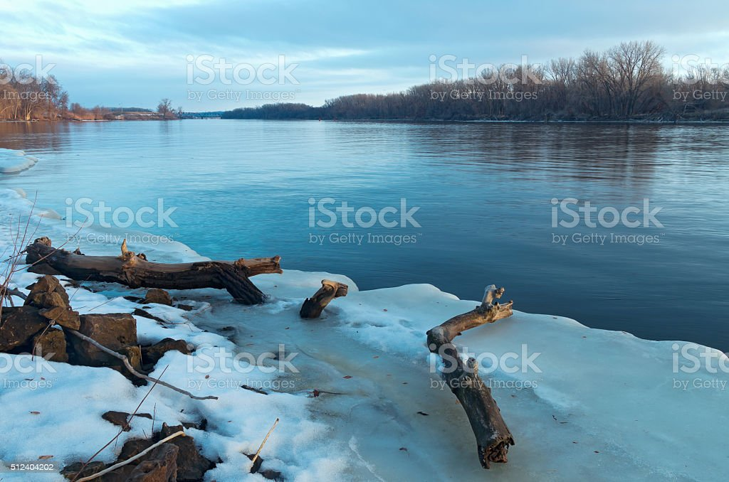 Mississippi River Thaw in South St Paul stock photo