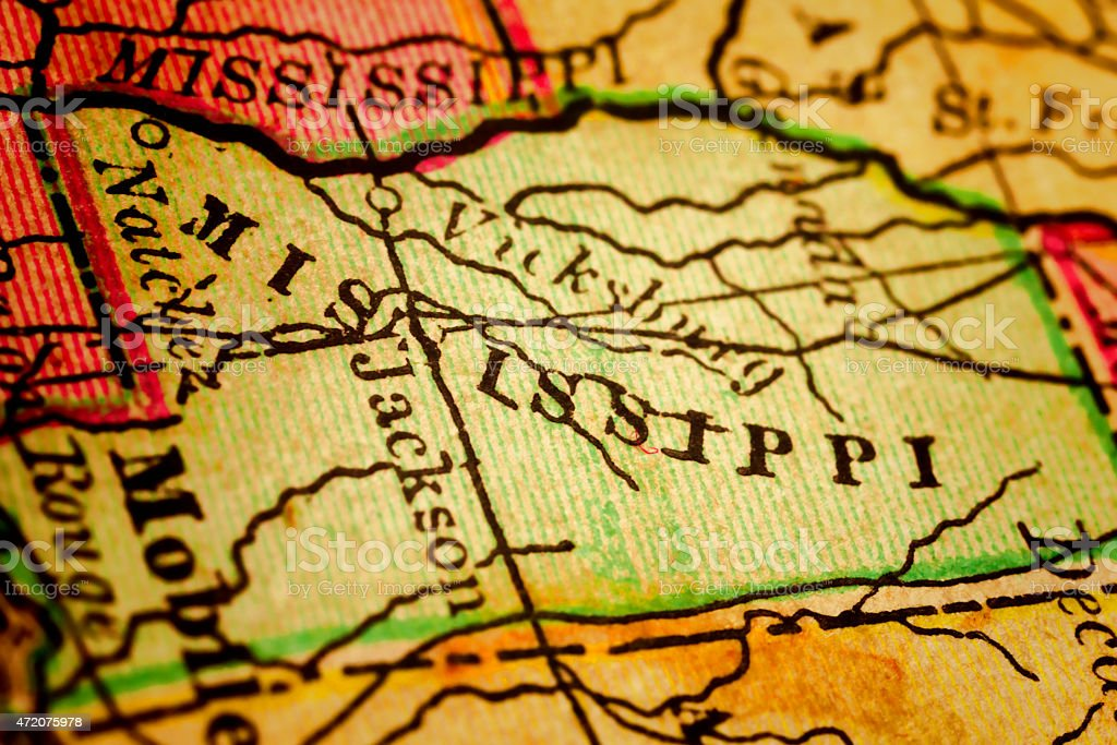 Mississippi State on an Antique map stock photo