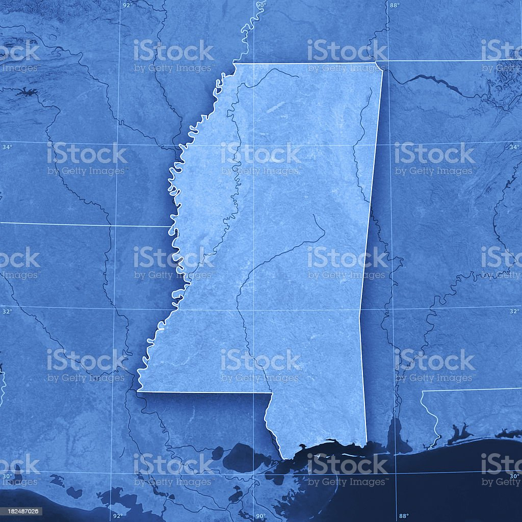 Mississippi Topographic Map stock photo