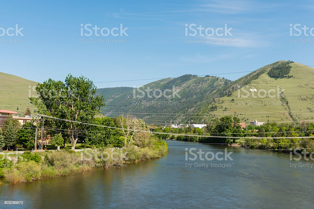 Missoula Montana Clark Fork River Scenic Mountain Spring View USA stock photo