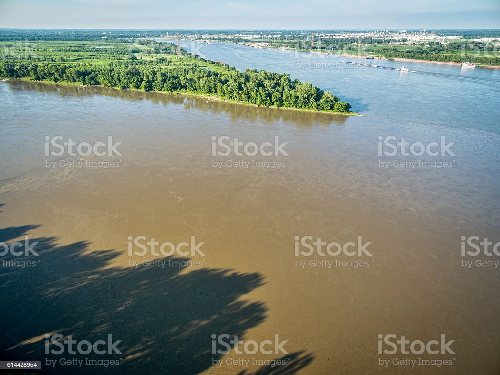 Missouri and Mississippi River confluence stock photo