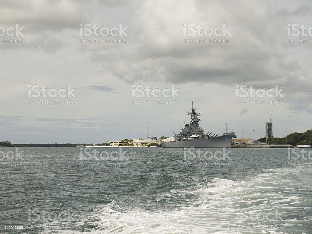 USS Missouri in Pearl Harbor stock photo