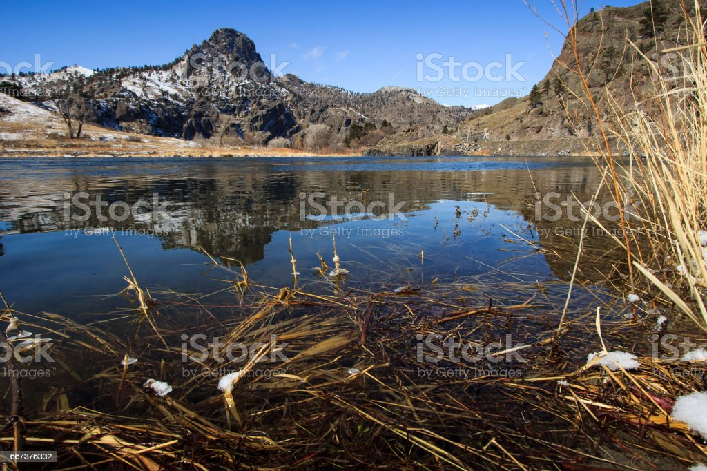 Missouri River at foot of Rocky Mountains in the spring stock photo