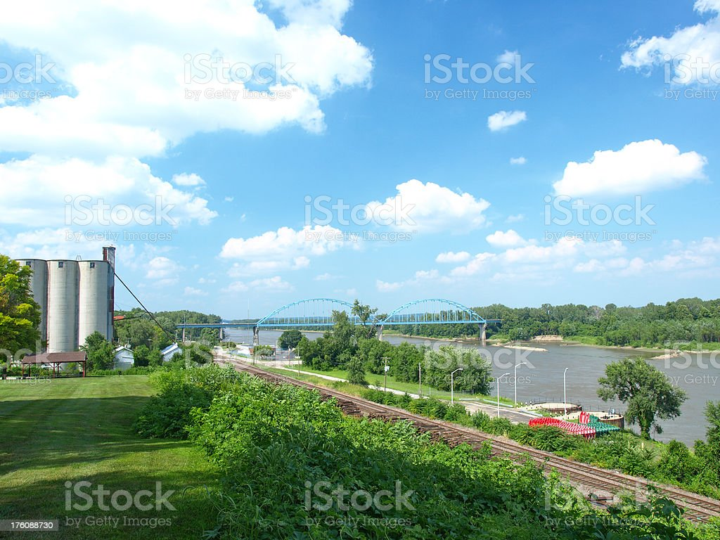 Missouri River at Leavenworth, Kansas stock photo