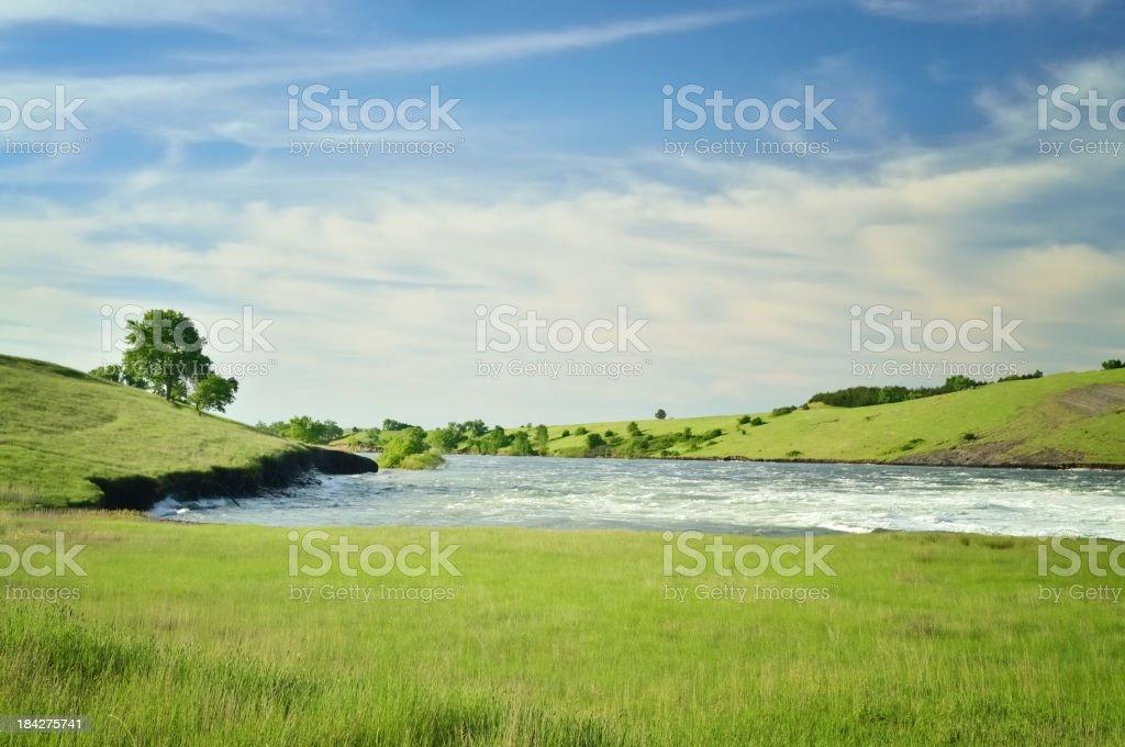 Missouri River Flowing Towards Pierre South Dakota stock photo