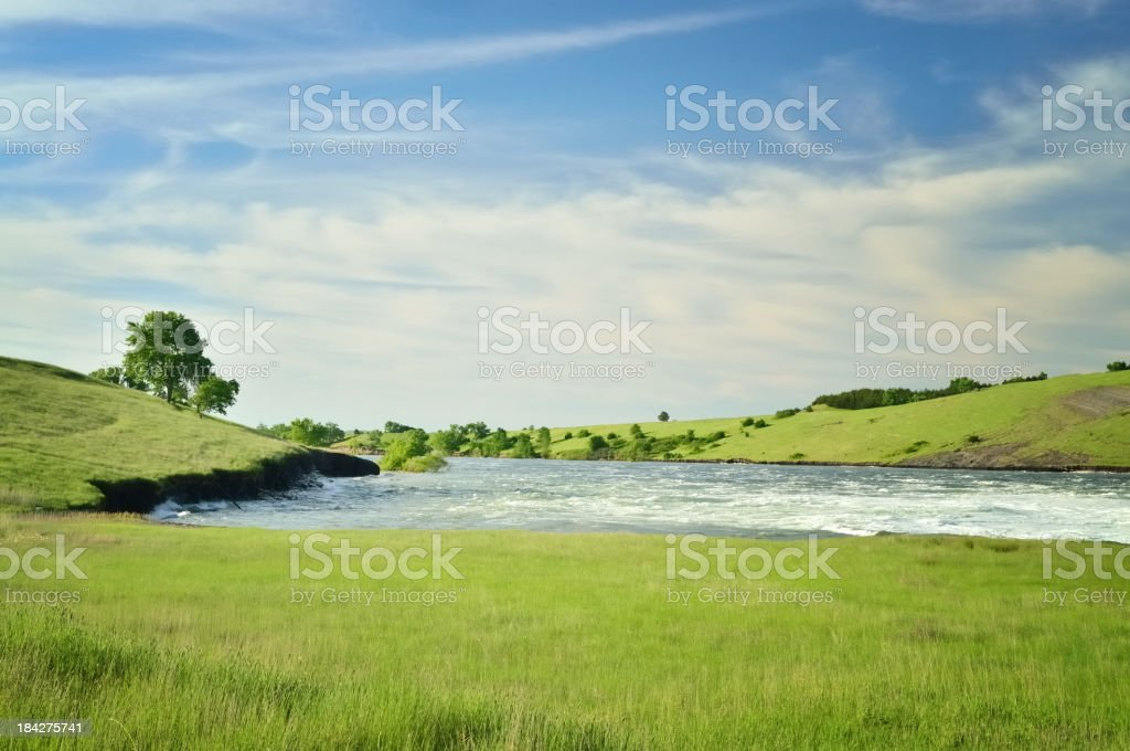 Missouri River Flowing Towards Pierre South Dakota stock photo