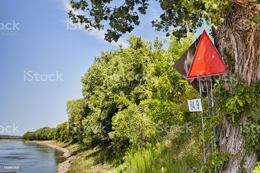 Missouri River navigational sign royalty-free stock photo