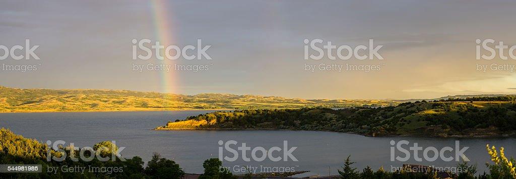 Missouri River Rainbow, Lake Francis Case stock photo