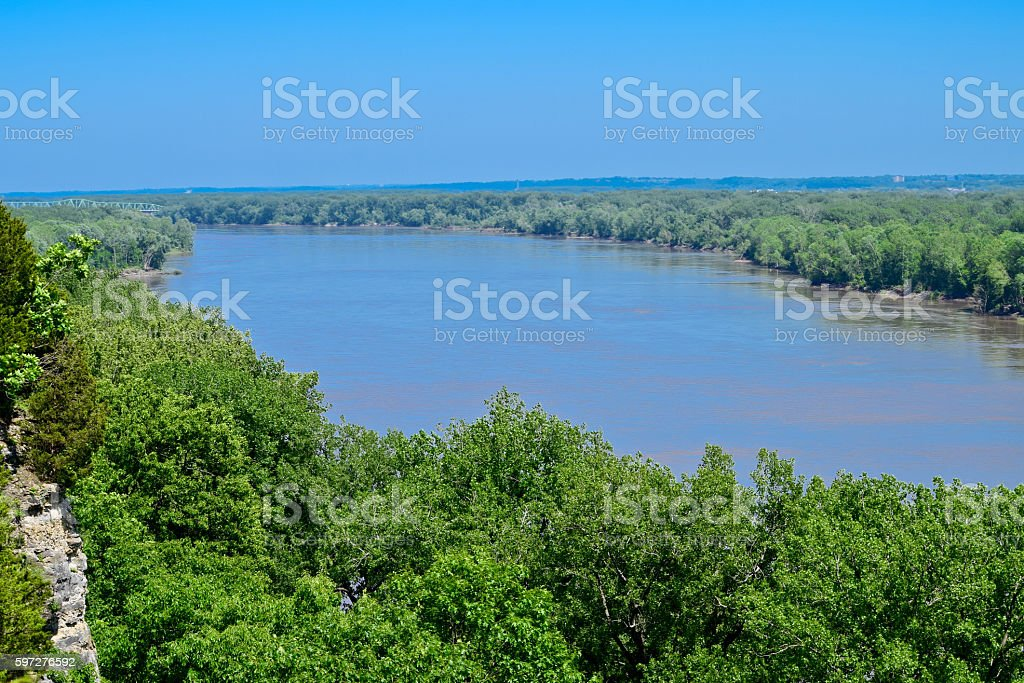 Missouri River with forest in the spring stock photo