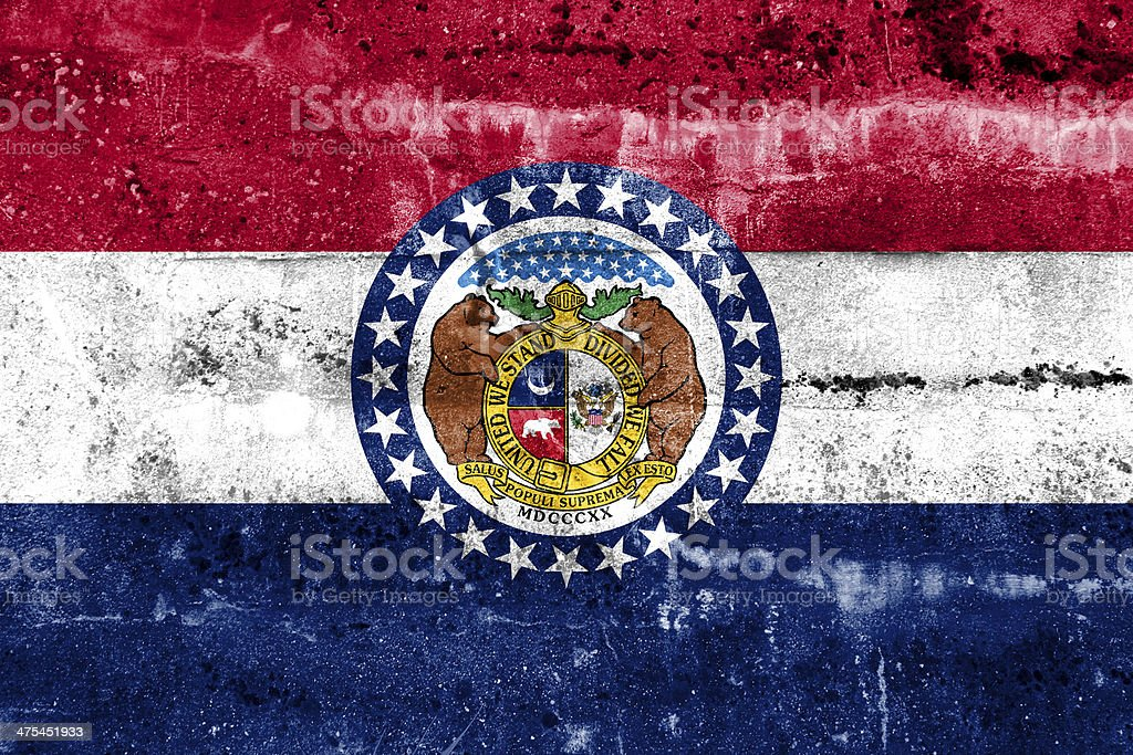 Missouri State Flag painted on grunge wall royalty-free stock photo