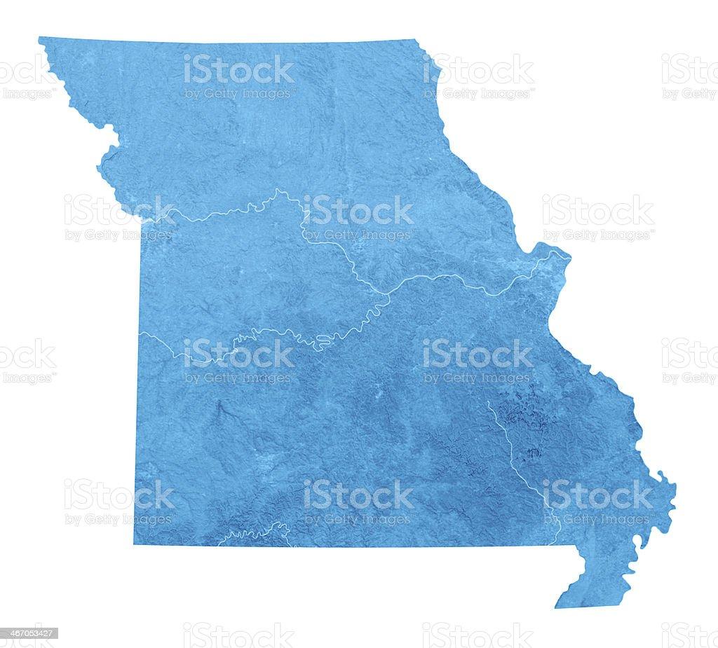 Missouri Topographic Map Isolated stock photo