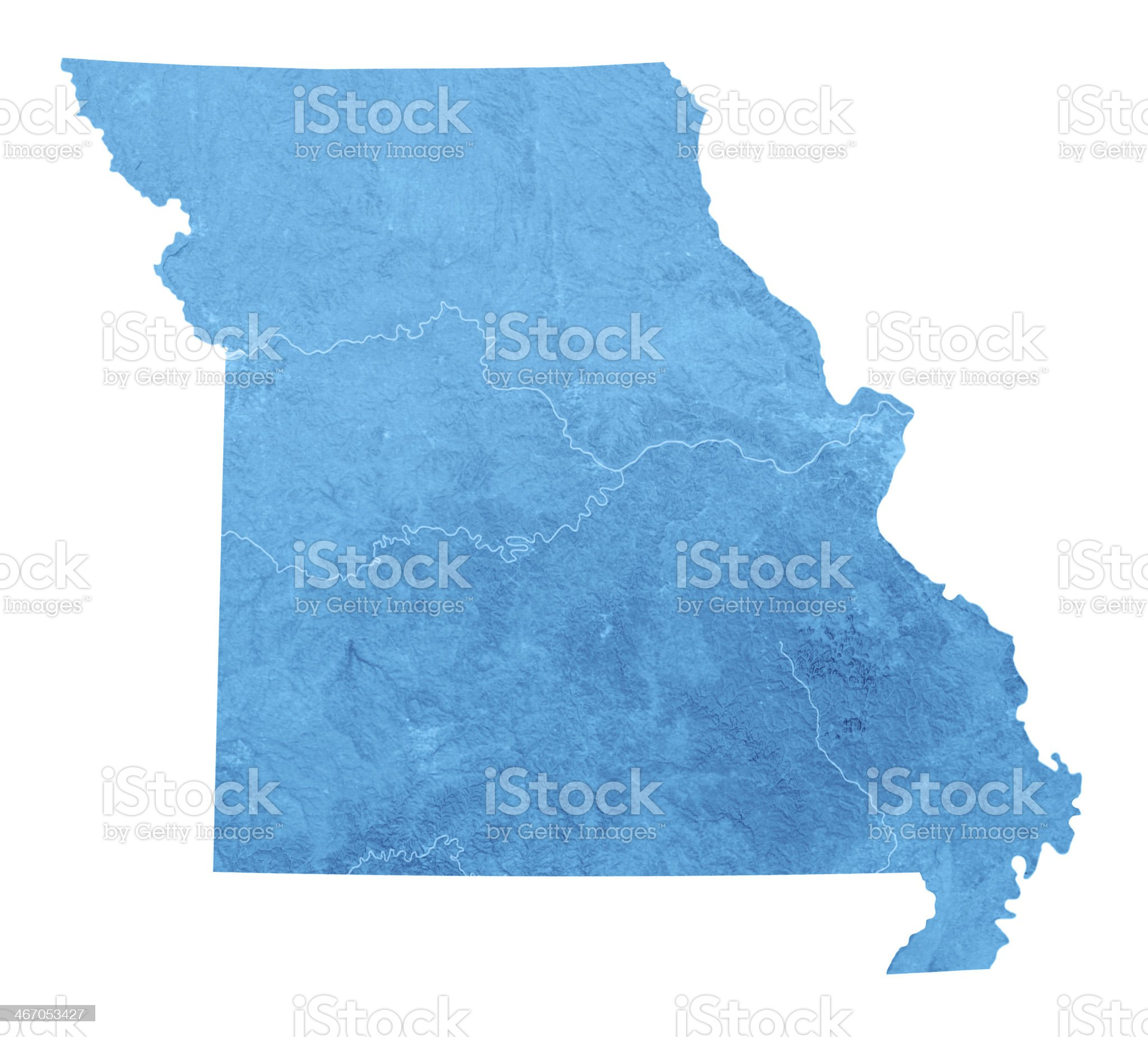 Missouri Topographic Map Isolated royalty-free stock photo