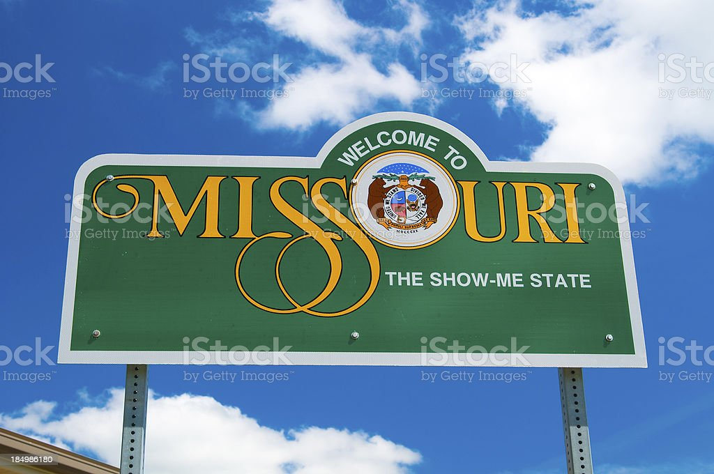 Missouri Welcome Sign stock photo