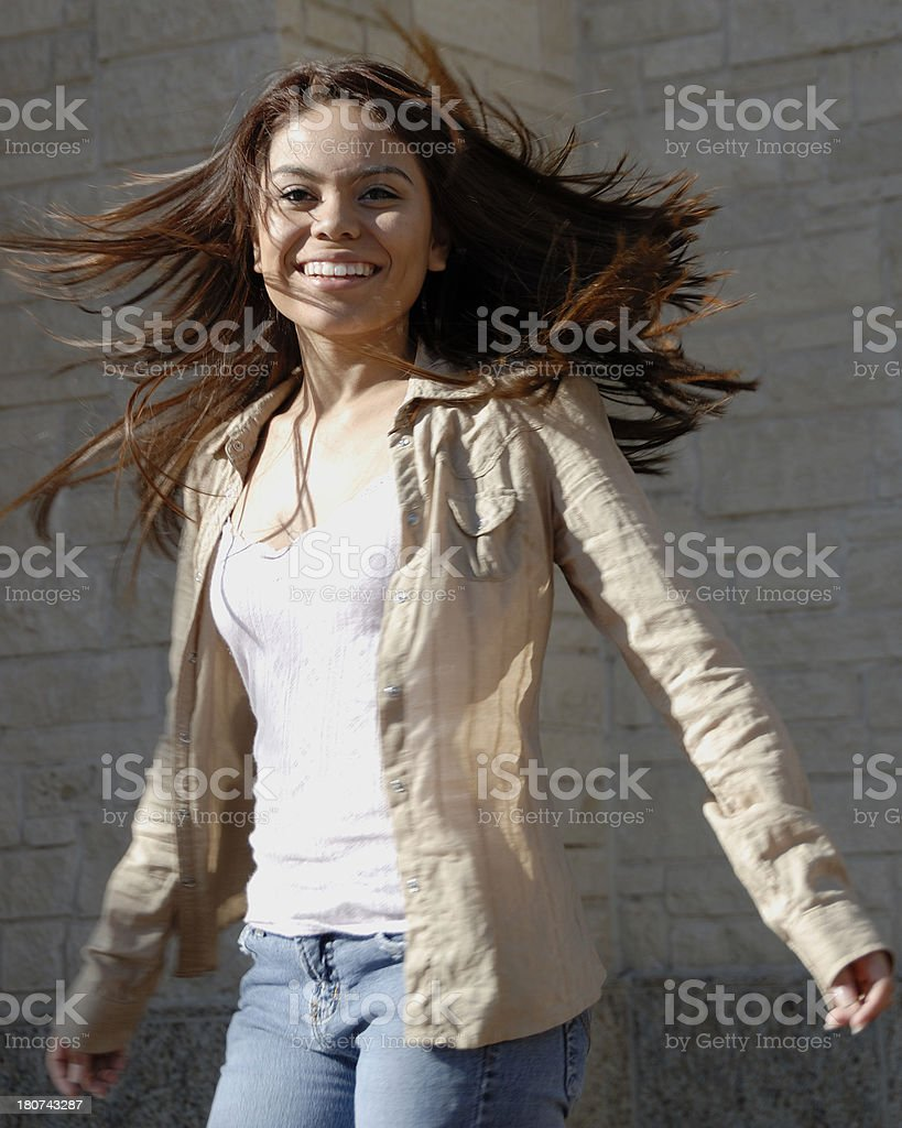 Missy dancing with her hair flowing stock photo