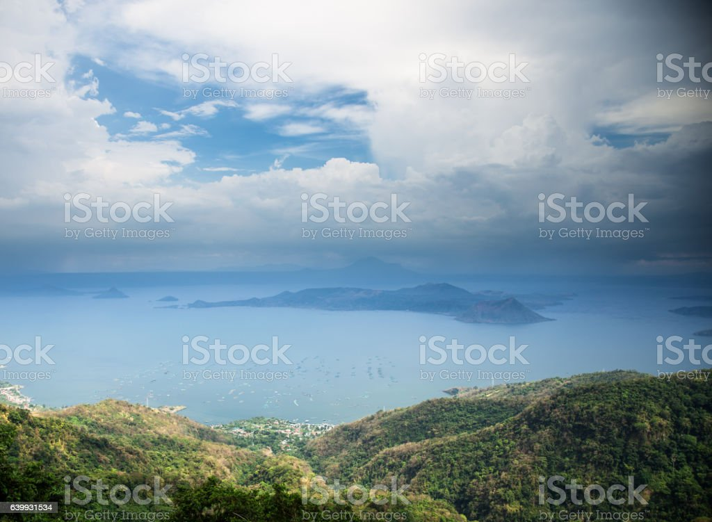 Mist and Cloud Over Taal Lake, The Philippines stock photo