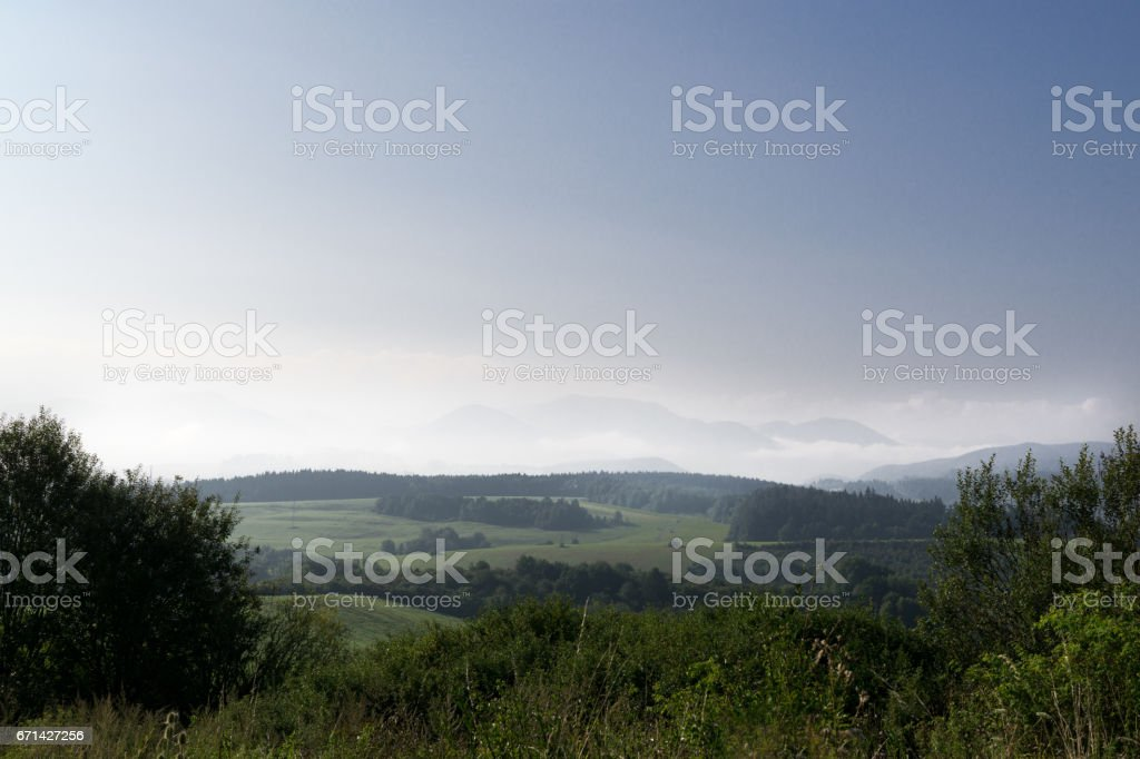 Mist and fog in nature stock photo