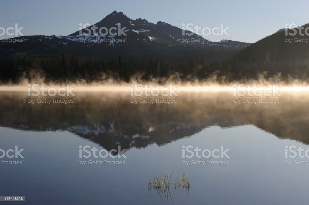 Mist and Mountain Reflection stock photo