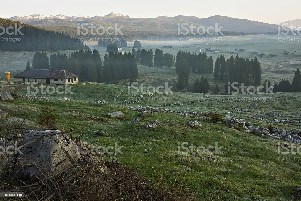 Mist in Piana di Marcesina at dawn. Asiago High Plateau. royalty-free stock photo