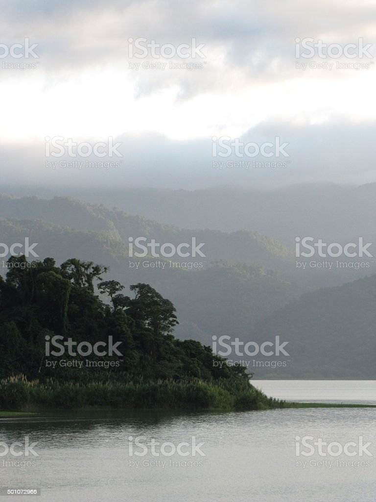 Mist in the mountains stock photo