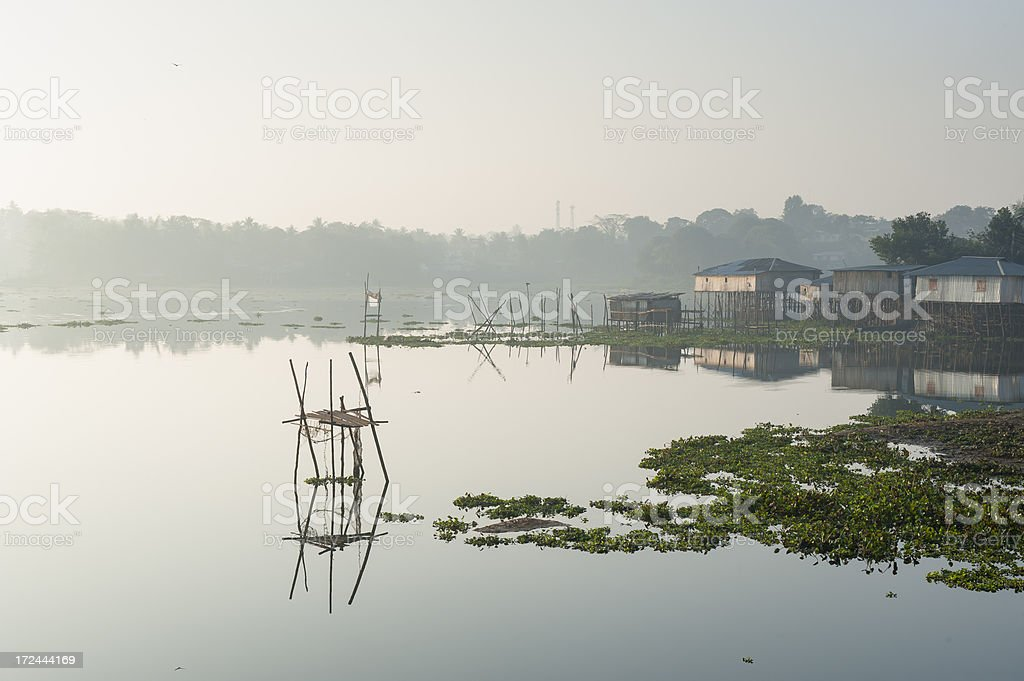 mist morning on Kaptai Lake, Rangamati, Bangladesh stock photo