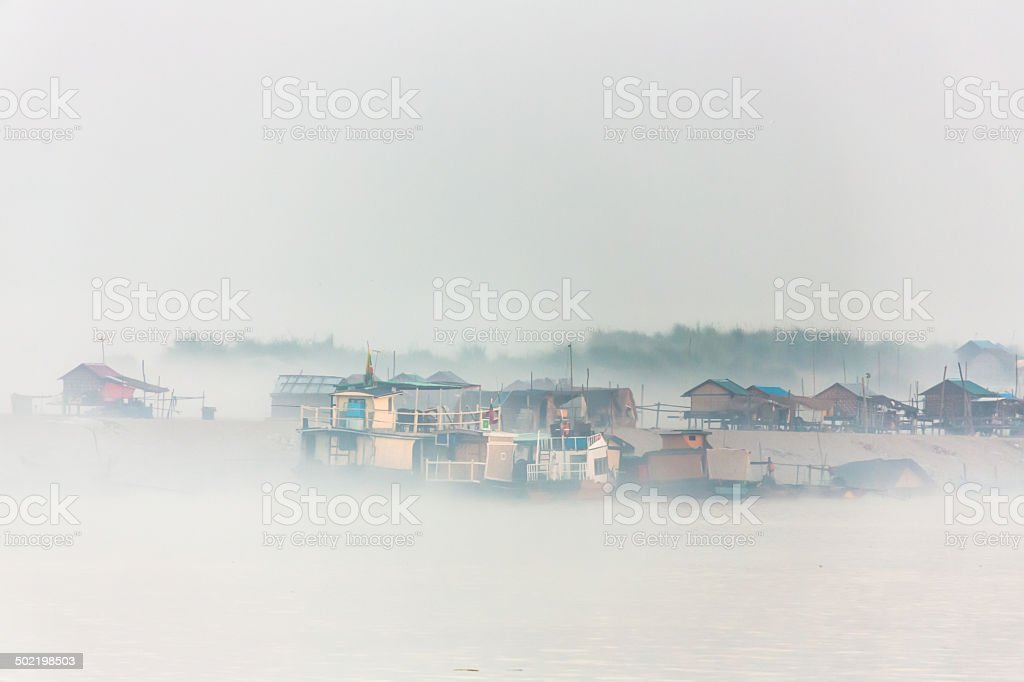 Mist on the Ayeyarwady River stock photo