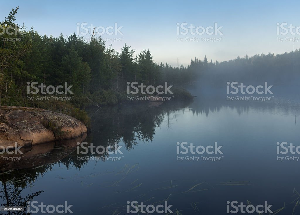 Mist over a Lake stock photo