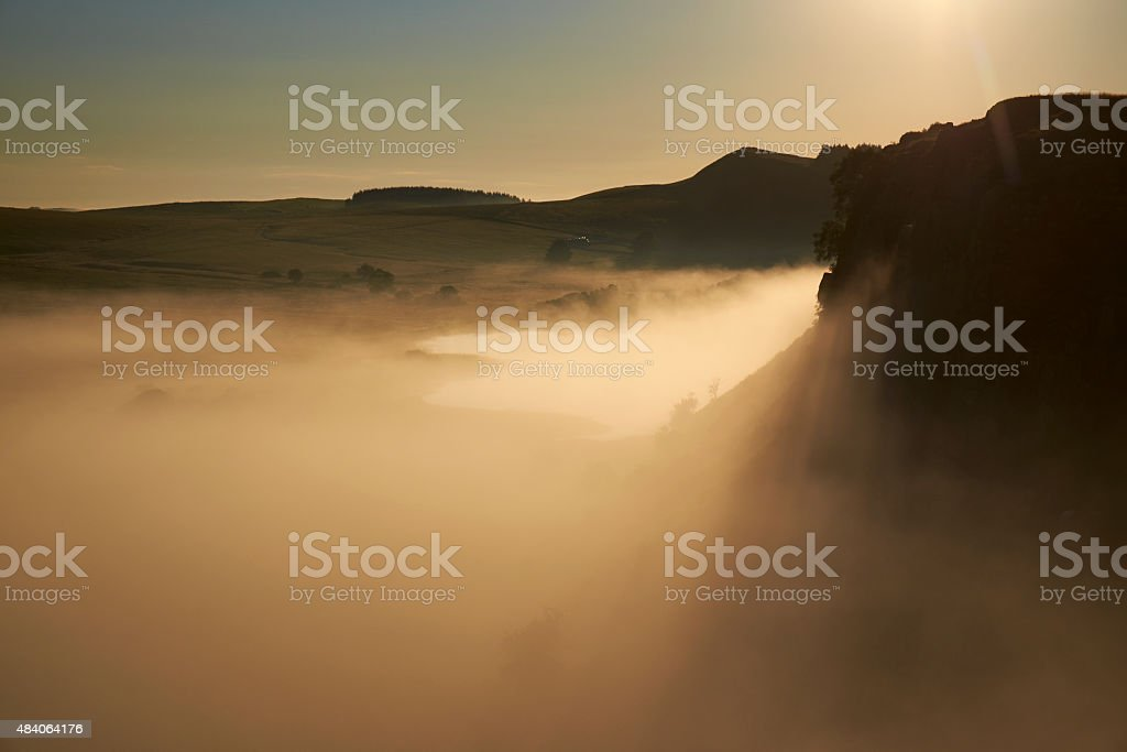 Mist Over Hadrian's Wall stock photo