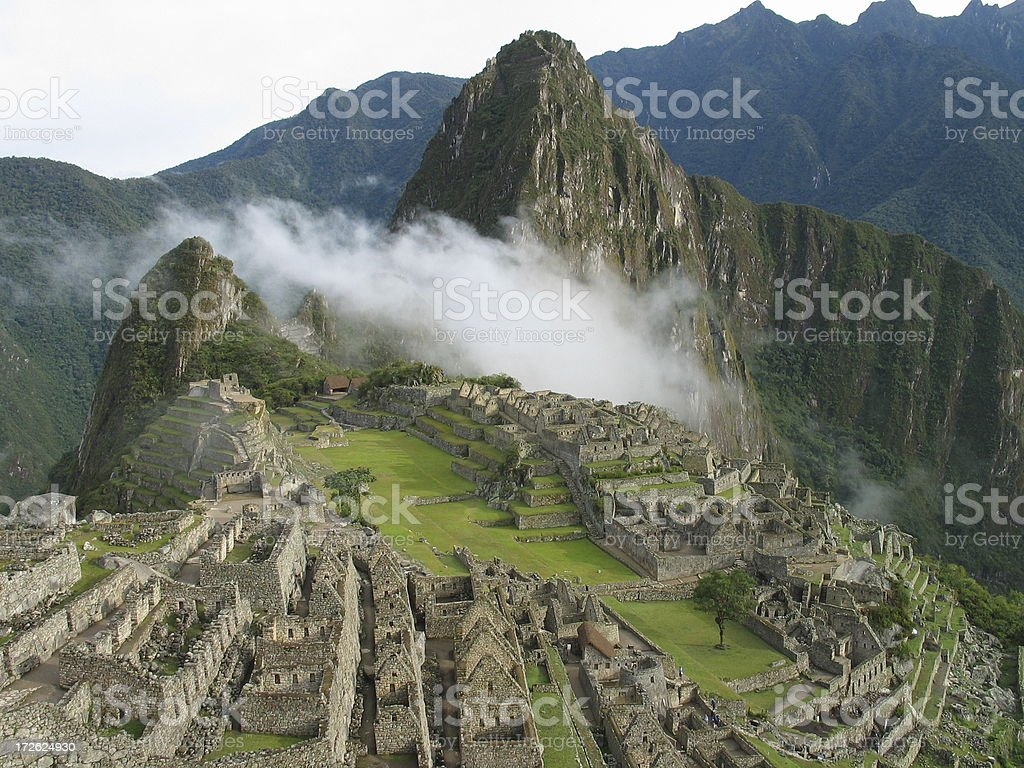 Mist over Machu Picchu stock photo