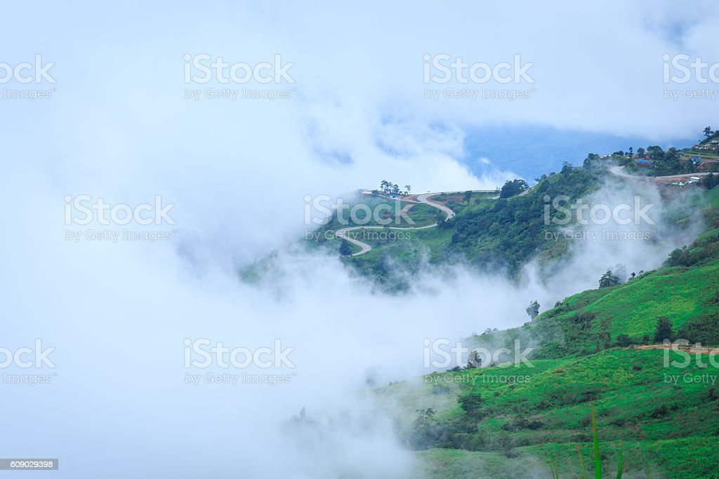 mist over the Mountain in Morning stock photo