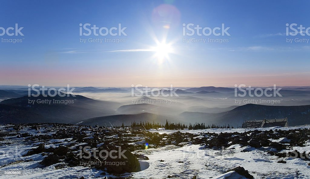 Mist over the mountains stock photo