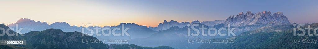 Mist over the Pale Di San Martino (Dolomites) stock photo