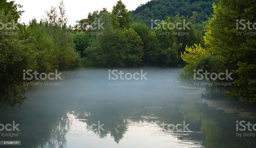 Mist over the river stock photo
