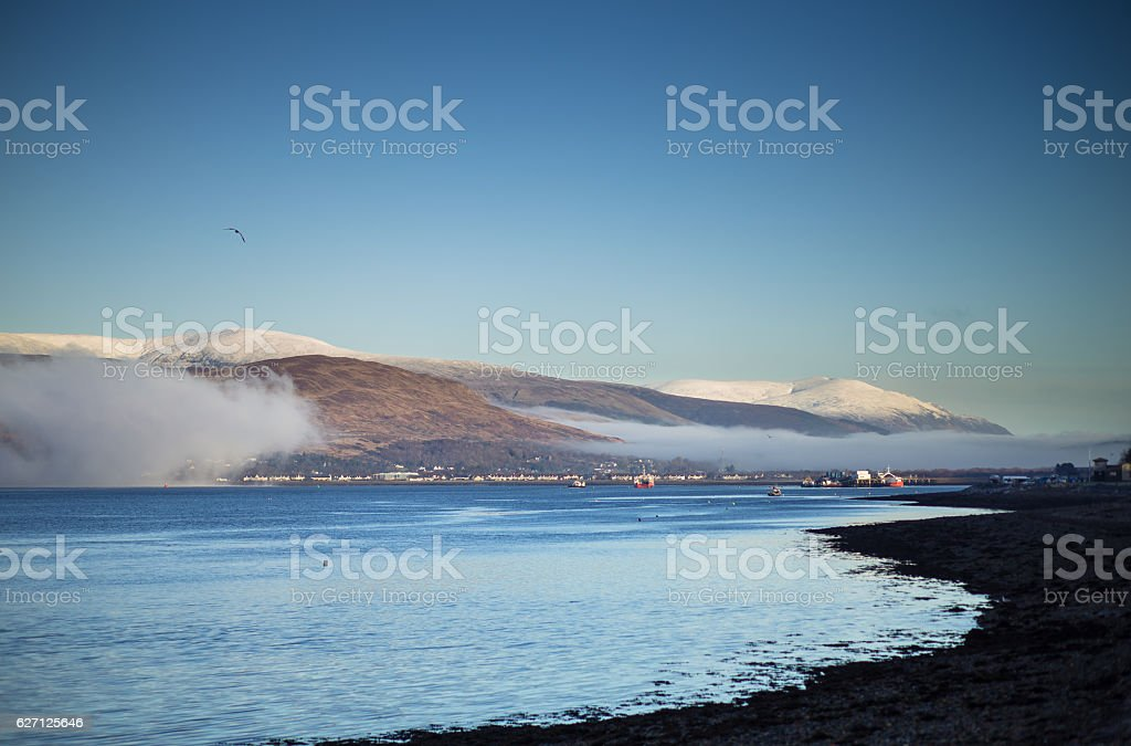 Mist Rising from Loch Linnhe Over Fort William stock photo