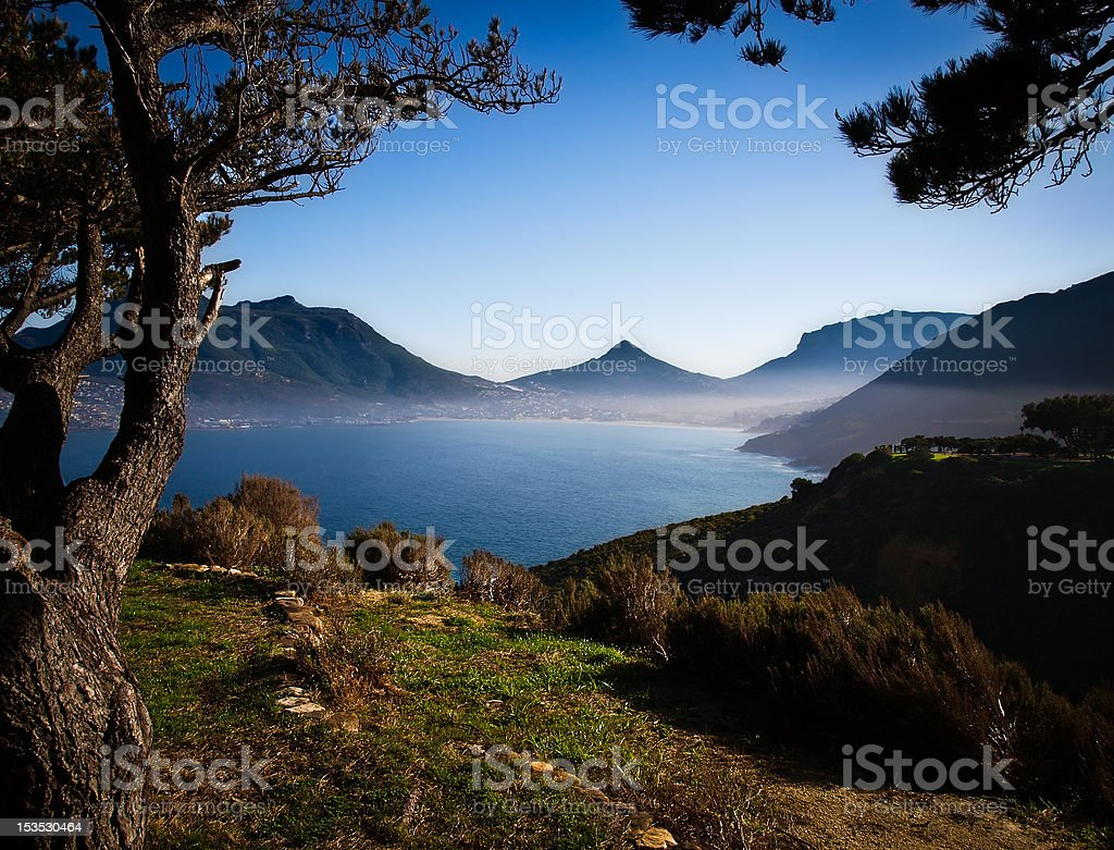 Mist rising over the bay in winter royalty-free stock photo