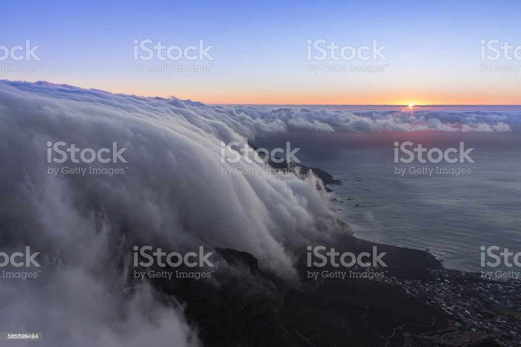 Mist rolling over Table Mountain, Cape Town stock photo